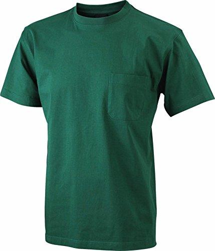 James & Nicholson – Camiseta de manga corta para hombre con bolsillo en el pecho JN920 Workwear verde oscuro 3XL