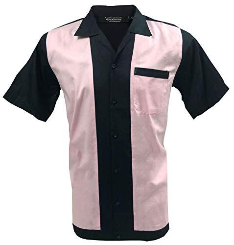 Rockabilly Fashions, camicia casual da uomo anni '50 e '60, stile vintage, retrò, bowling, nero, rosa, S-3XL Nero e rosa M