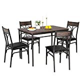 VECELO 5-Piece Indoor Modern Rectangular Dining Table Set for Kitchen, Dinette, Breakfast Nook, Retro Brown