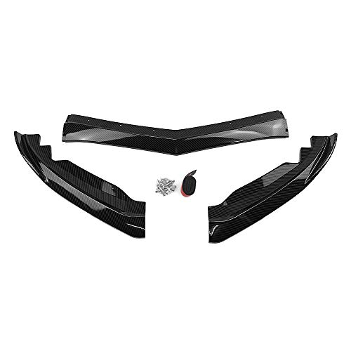 3PCS Front Bumper Lip Spoiler Cover Trim For Cadillac ATS 2015-2018 Carbon Fiber Paint