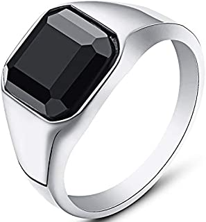 WFF Stainless Steel Black Onyx Signet Style Ring