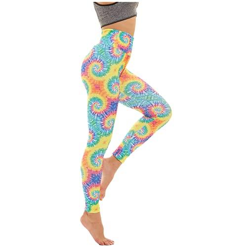 QTJY Leggings de Mujer con Estampado de teñido Anudado, Pantalones de Yoga con Levantamiento de Cadera y Cintura Alta, Leggings de Fitness elásticos Push-up, Pantalones de Celulitis CS