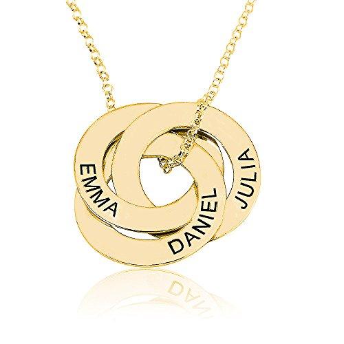 namenskette Gravierte Russische Ring Kette - personalisiertes Geschenk für sie (45, 18 Karat vergoldet)