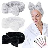 YMHPRIDE - Diadema de spa, 3 piezas, diadema con lazo para niñas, mujeres, encantadora y suave, diadema elástica de Carol con juego de pinceles de maquillaje (negro/blanco/gris)