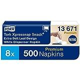 Tork 13671 Tovagliolo Extra Soft bianco con motivo a foglie per dispenser Xpressnap Snack Premium, sistema N10, 2 veli, 8 pacchi x 500 tovaglioli (4000 pz), 21,3 cm (lungh.) x 21,6 cm (largh.)