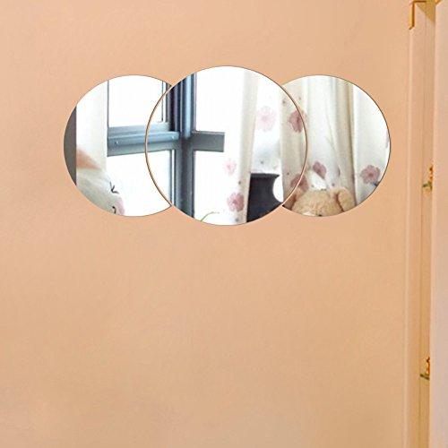 Spiegel Fliesen Wandaufkleber 3D-Aufkleber Mosaik Stick auf Moderne Kunst Raumdekor, Silber Spiegel Wandaufkleber