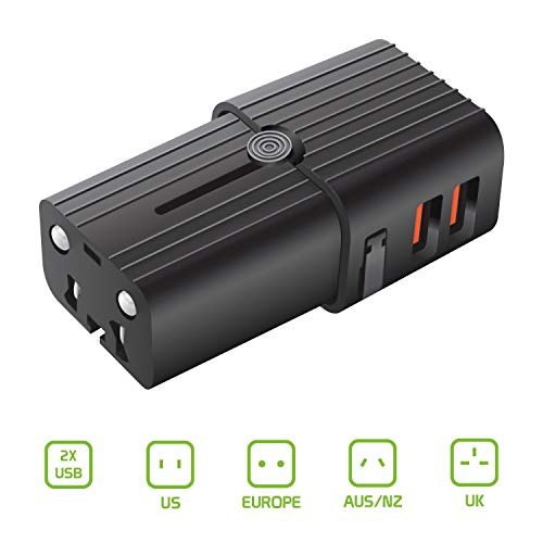 Cellet Worldwide All-in-One Universal Pocket Size Power Adapter with Dual USB Ports Compatible with Samsung A71 and All Other Cell Phones & Tablets