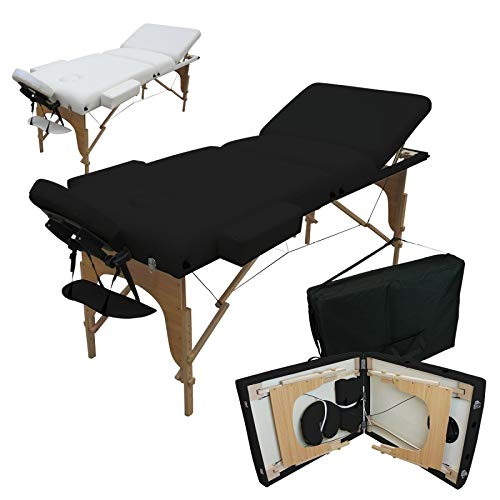 Vivezen ® Table de massage 13 cm pliante 3 zones en bois avec panneau Reiki + Accessoires et housse de transport - 2 coloris - Norme CE