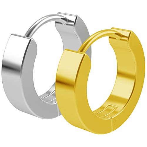 Bling Unique 2pc 20g 0.8mm Gold Surgical Stainless Steel Huggie Hoop Earrings for Men Women Huggy Clutch Jewellery