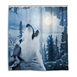 CPYang Duschvorhang, Winter, Schnee, Wolf, Heulender Mond, wasserdicht, schimmelresistent, 168 x 182 cm, mit 12 Haken