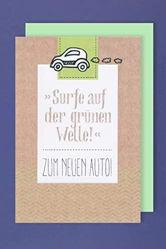 Neues Auto Karte Grußkarte KFZ Glückwunsch Grüne Welle 16x11cm