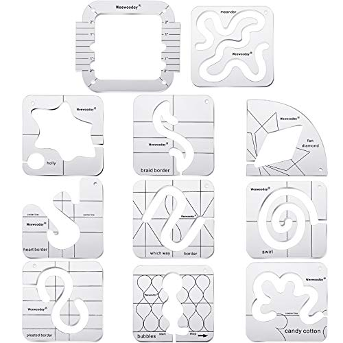 11 Pieces Free-Motion Quilting Template Set Sewing Machine Domestic Templates DIY Quilting Transparent Ruler with Quilting Frame for Simple Quilting Design