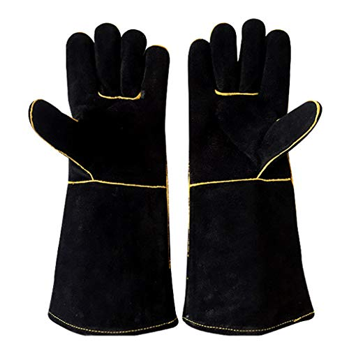 CADANIA 1 paar lederen camping BBQ lassen handschoenen hittebestendig voor lassers koken open haard tuinieren DIY hout werken