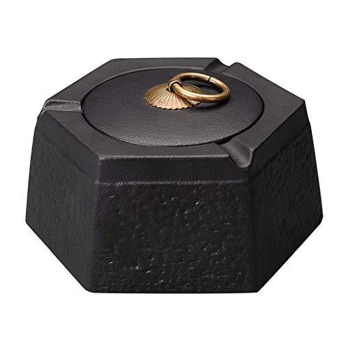 JIAJBG Cenicero de cerámica con tapa de asa, diseño de geometría de cigarrillos, para uso en interiores o exteriores, color negro