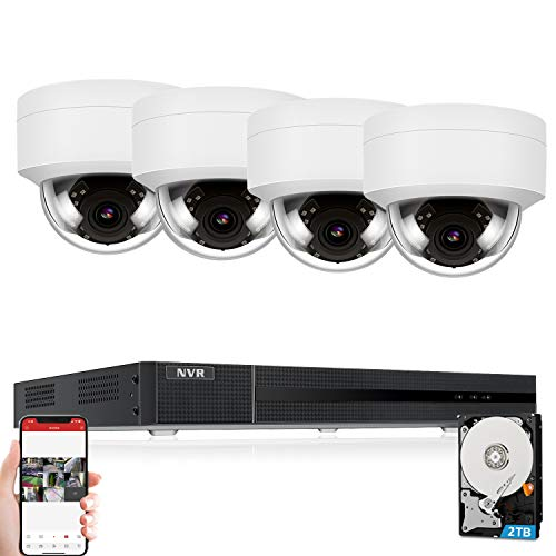 Anpviz 5MP IP POE Security Camera System, 8CH 4K H.265 NVR with 2TB HDD with(4) 5MP Outdoor IP POE Dome Cameras Home Security System with Audio Recording, Weatherproof, 98ft Night Vision, Hik-Connect