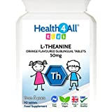 Kids L-Theanine 50mg Sublingual Tablets. Focus for Children. Supports Attention & Concentration. Natural Orange Flavour. Vegan. Made by Health4All, 90 Tablets (V)