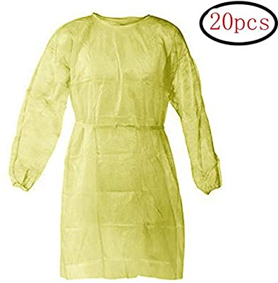 20 Pcs Disposable Isolation Gowns with Elastic Cuffs, Protective Gowns with Long Sleeves, Neck and Waist Ties, Examination Gowns, Splash Resistant Protective Suit