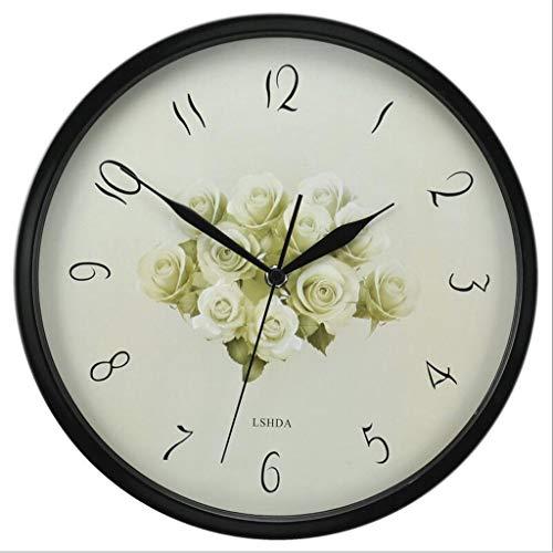 LBBD 12 Pulgadas Creativo Mudo Reloj Grande Europeo clásico Redondo Reloj de Pared Vintage atómico analógico (Size : A)