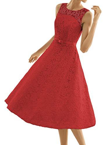 Kurze Brautkleider Spitze Vintage A-Linie Schlichte Hochzeitskleider Standesamt Wadenlang Cocktailkleider Partykleider Rot 56