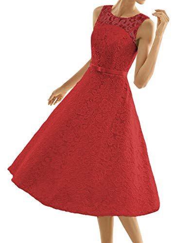 Kurze Brautkleider Spitze Vintage A-Linie Schlichte Hochzeitskleider Standesamt Wadenlang Cocktailkleider Partykleider Rot 48