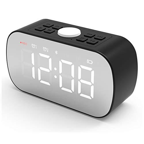 XWEM Reloj Electrónico De Moda, Altavoz De Conexión Inalámbrica Bluetooth Doble Cuerno Reloj Despertador LED Mirror Relojes De Escritorio Grabar Música/Tonos De Llamada/Voces