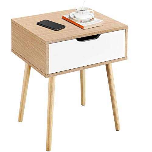 Yaheetech Retro Bedside Table Side Cabinet with 1 Drawer Storage Unit Storage Cabinet with Solid Wood Legs Living Room Bedroom Furniture, White + Oak, 48 x 40 x 58cm