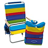 Rio Brands Beach 4-Position Easy-in/Easy-Out Folding Backpack Beach Chair with Removable Pack - Surf Power Stripe, 12'
