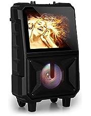 """auna CenterStage - Altavoz de Karaoke portátil, Equipo de Karaoke, Karaoke, Bluetooth, Batería Recargable, USB, MicroSD, Pantalla 14,1"""" Color, Micrófono, 40 W RMS, Negro"""