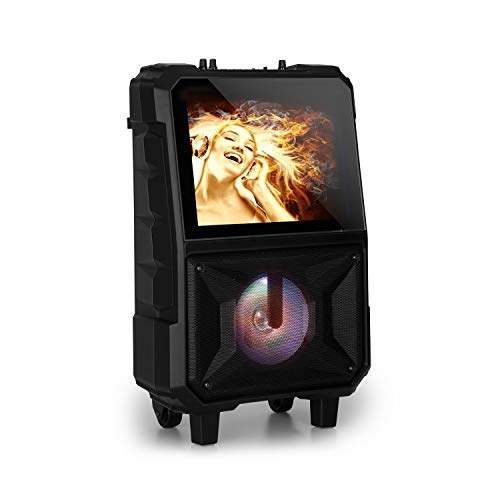 auna CenterStage - mobile Karaoke-Lautsprecher Anlage, Karaoke-System, Bluetooth, USB, MicroSD-Slot, 14.1'' Farbdisplay, Funk-Mikrofon, rechargeable Lithium-Akku, 40 Watt RMS, schwarz