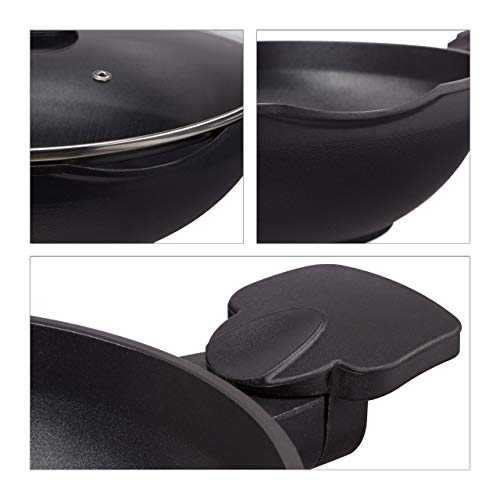 Relaxdays Sartén Wok para Vitrocerámica con Tapa, Aluminio, Negro, 58x31x15 cm