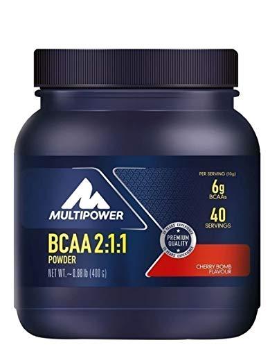 Multipower BCAA 2:1:1 Powder - Integratore Alimentare in Polvere - Aminoacidi a Catena Ramificata con Rapporto 2:1:1 di L-isolucina, L-leucina, L-Valina - Senza Aspartame - 400 g - Gusto Ciliegia
