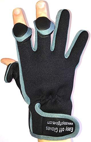 Neopren-Handschuhe mit Klettverschluss (umklappbares Fingerspitzenteil) von Easy Off Gloves –ideal zum Reiten, Schießen, Angeln, Radfahren, für Gartenarbeit, Fotografie, Heimwerker und als allgemeine Arbeitskleidung. (EU 11–XL)