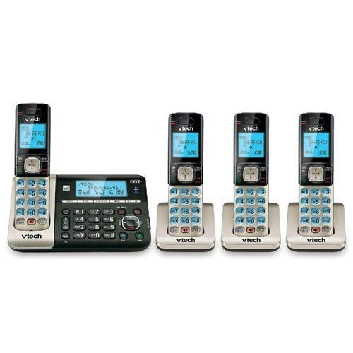 VTech DS6752-4 4-Handset DECT 6.0 Cordless Phone with Bluetooth Connect to Cell, Digital Answering System and Caller ID, Expandable up to 5 Handsets, Wall-Mountable, Silver/Black (Renewed)