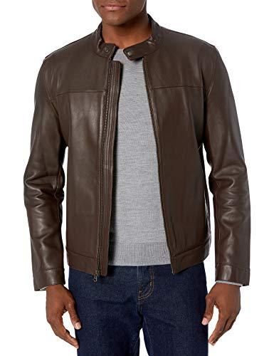 Cole Haan Men's Bonded Leather Moto Jacket, Dark Brown, Small