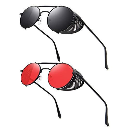 Ronsou Gafas de sol polarizadas estilo Steampunk estilo vintage, estilo retro, protección UV400, marco Matel, gris (A9 2 lentes de marco negro gris + lente roja de marco negro), Talla única