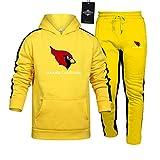KaVoNSton de Los Hombres Chandal Conjunto Trotar Traje N.F.L.Card_inals 2 Piezas Raya Sudadera + Pantalones Saco X/yellow/XXL