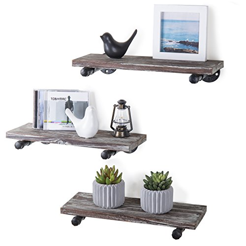 MyGift Urban Rustic WallMounted Torched Wood Floating Shelves Set of 3