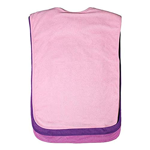 Terry Cloth Pack of 2 Adult Bibs Apron Set for Men, Women for Eating with Adjustable Strap - Washable Reusable Large for Elderly, Seniors and Disabled (Pink)