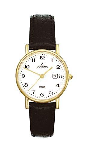 Dugena Damen Quarz-Armbanduhr, Saphirglas, Lederarmband, Zenit, Schwarz/Gold, 2171016