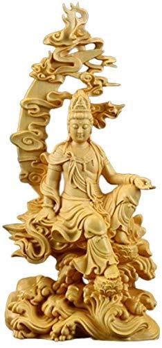 MOOUK Buchsbaum Schnitzen Guanyin Statue, 7inch Wasser und Mond Göttin Kuan Yin Skulptur, Buddha Statue Themen Religiös Dekorativ Figur Feng-Shui Zen Buddhistisch Heimbüro Dekor - Gold, Einheitsgröße