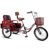 Cargo Trike Bicicletas de tres ruedas para mujeres, adultos mayores, triciclo, 20 'Cruiser, 3 ruedas, diseño plegable, modos duales para tripulación y carga, asiento cómodo con niño (tamaño: 20 pulga