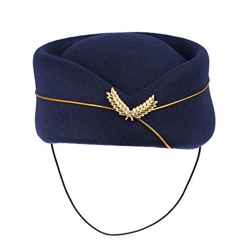 BESTOYARD Women Air Stewardess Hat Woollen Flight Attendant Hat Stewardess Cap for Costume Cosplay Musical Performance - Size M(Navy Blue)