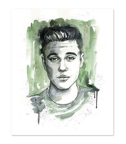 11x14 Justin Bieber Poster Art Print // Wall Decor Picture // Portrait Watercolor painting