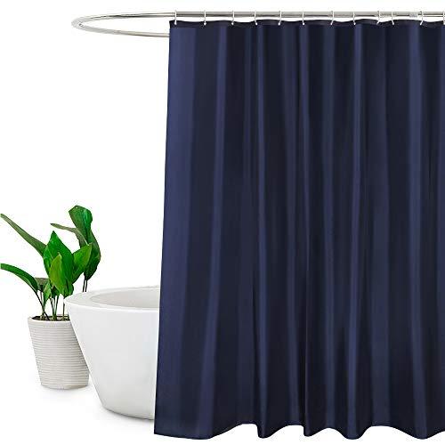 EurCross Duschvorhang, Polyester, schimmelfest, wasserabweisend, Weiß, Polyester, blau, 72