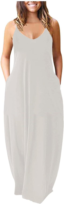 Shakumy Dresses for Women Casual, Women's Gradient V Neck Long Maxi Dress Sleeveless Plus Size Summer Party Cami Long Dress