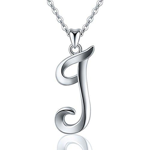 Eudora 925 Sterling Silber Kette Mit Namen, Kette Mit Gravur Letter Alphabet Initialen Anhänger halsketten für Frauen Besondere Geschenke für Frauen Damen Mädchen, 45,7 cm