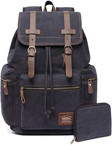 Vintage Rucksäcke,Kaukko Canvas Laptop Rucksack Damen Herren Schulrucksack Daypack Stylisch Backpack für Outdoor Wanderreise Camping mit Großer Kapazität (Schwarz 702-1)