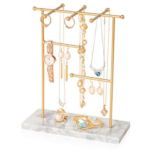 Organizador de joyas con mármol, expositor para collares, pendientes, anillos, collares, relojes y pulseras
