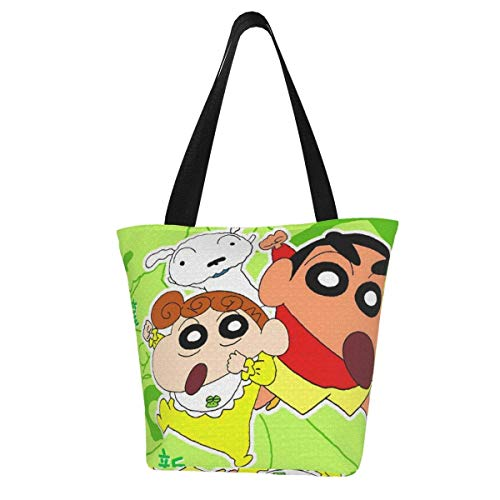 Canvas Tote Bag for Womens and Girls Crayon Shinchan Family Animation Shoulder Handbags Beach Bag Big Capacity Shopping Bag with Zip