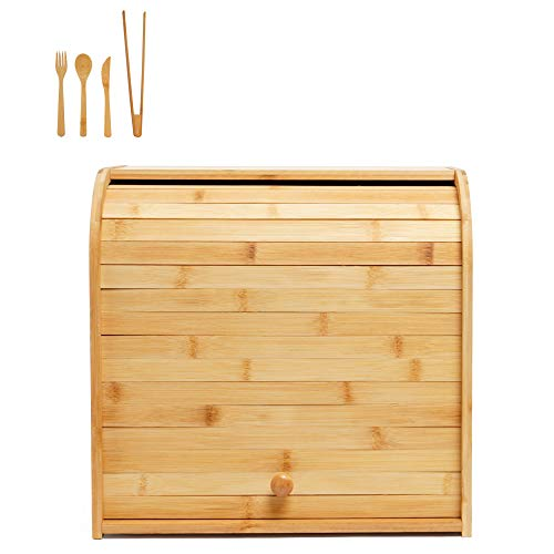 Wooden Bread Box Bamboo 2 Shelf Roll Top Bread Holder Bread Organizer Large Capacity Food Storage Bin with Removable Layer for Kitchen Counter Top